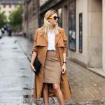 2020 Bayan Kalem Etek Kombinleri Kahverengi Kalem Etek Beyaz Gömlek Sarı Trençkot Stiletto Ayakkabı