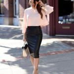 2020 Bayan Kalem Etek Kombinleri Siyah Deri Kalem Etek Pudra Bluz Krem Stiletto Ayakkabı Beyaz El Çantası