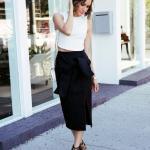 2020 Bayan Kalem Etek Kombinleri Siyah Midi Kalem Etek Beyaz Kolsuz Bluz Siyah Stiletto Ayakkabı