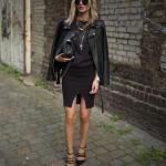 2020 Bayan Kalem Etek Kombinleri Siyah Yırtmaçlı Kalem Etek Bluz Deri Ceket Stiletto Ayakkabı