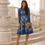 2020 En Şık Düğün Elbiseleri ve Abiye Kıyafetler Saks Mavi Dizboyu Uzun Kollu Kayık Yakalı Dantel