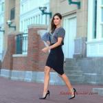 2020 En Şık Düğün Elbiseleri ve Abiye Kıyafetler Siyah Mini Asimetrik Etek Gri Kısa Kollu Bluz