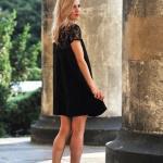 2020 En Şık Düğün Elbiseleri ve Abiye Kıyafetler Siyah Mini Kısa Kollu Dantel Yakalı