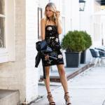 2020 En Şık Düğün Elbiseleri ve Abiye Kıyafetler Siyah Mini İp Askılı Çiçek Desenli