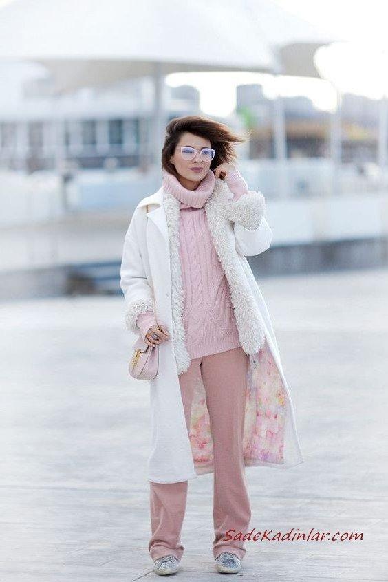 2020 Günlük Şık Kombinler Pembe Pantolon Boğazlı Kazak Beyaz Uzun Kaşe Kaban Gri Spor Ayakkabı