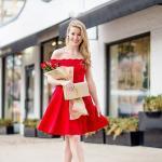 2020 Sevgililer Günü İçin Abiye Elbise Modelleri Kırmızı Mini Omzu Açık Düşük Kollu Kloş Etekli
