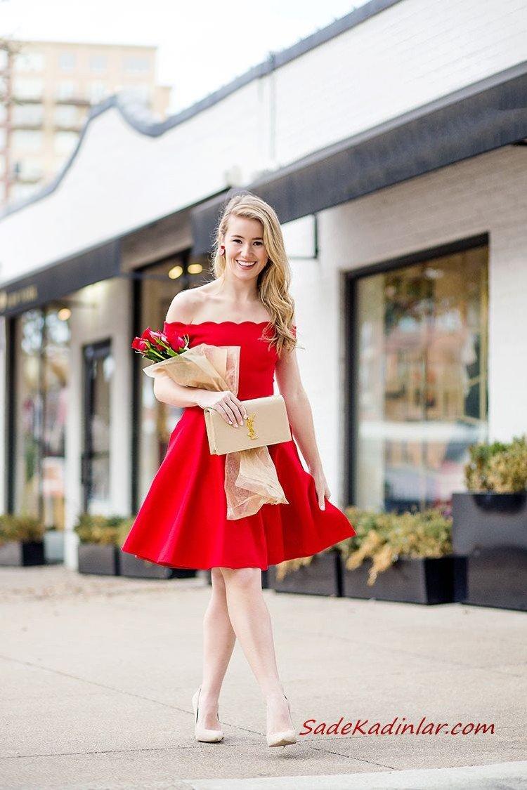2021 Sevgililer Günü İçin Abiye Elbise Modelleri Kırmızı Mini Omzu Açık Düşük Kollu Kloş Etekli