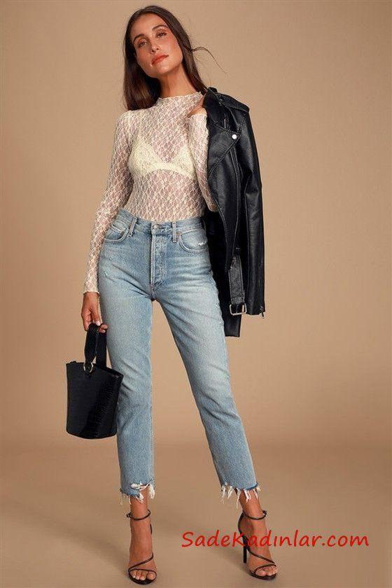 2020 Sonbahar için Şık Bayan Deri Ceket Kombin Önerileri - Krem Şeffaf Dantel Uzun Kollu Bodysuit ve Deri ceket