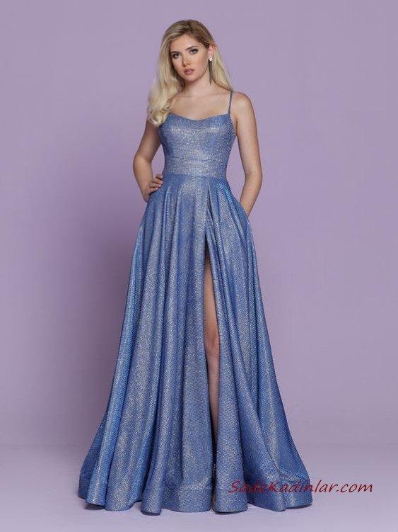 2020 Uzun Abiye Elbise Modelleri Mavi Uzun İp Askılı Derin Yırtmaçlı Kloş Etekli Cepli