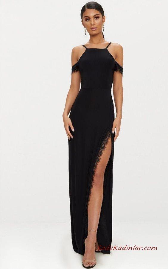 2020 Uzun Abiye Elbise Modelleri Siyah Uzun Halter Yakalı Derin Yırtmaçlı