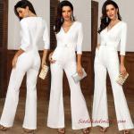2020 Bayan Abiye Tulum Modelleri Beyaz Yetim Kollu V Yakalı İspanyol Paçalı Kemerli
