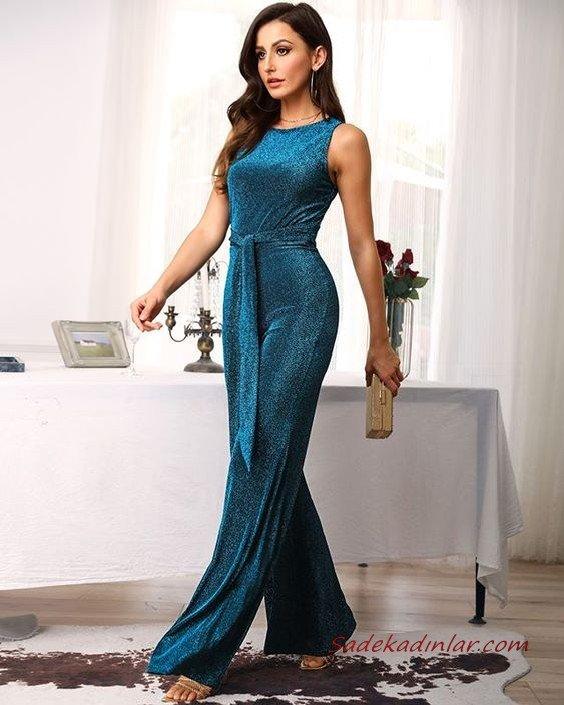 2020 Bayan Abiye Tulum Modelleri Cam Göbeği Kolsuz Kumaş Kemerli Simli