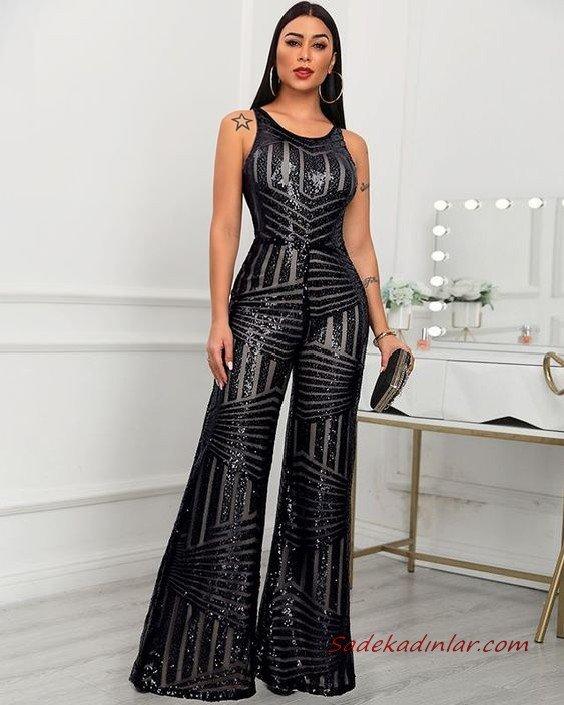 2020 Bayan Abiye Tulum Modelleri Siyah Kolsuz Bol Paçalı Payetli