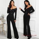 2020 Bayan Abiye Tulum Modelleri Siyah Omzu Açık Uzun Kollu Düğmeli Çizgi Desenli