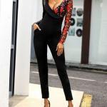 2020 Bayan Abiye Tulum Modelleri Siyah Uzun Kollu Cepli Gül Desen Detaylı