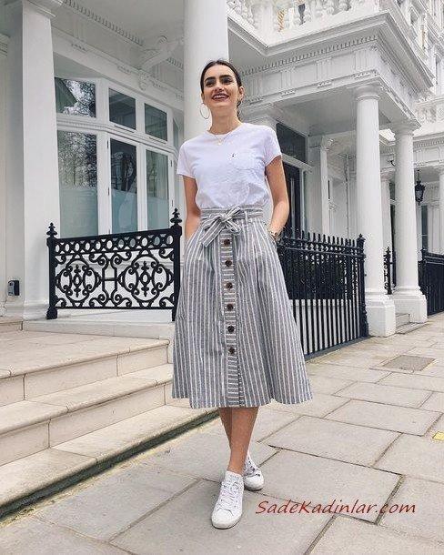 2020 Bayan Spor Kombinler Gri Midi Düğmeli Etek Beyaz Tişört Spor Ayakkabı