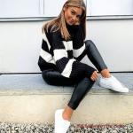 2020 Bayan Spor Kombinler Siyah Deri Pantolon Kazak Beyaz Spor Ayakkabı