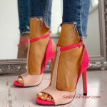 2020 Bayan Stiletto Ayakkabı Modelleri Fuşya Önü Açık T Bantlı Tokalı
