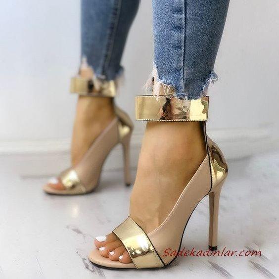 2020 Bayan Stiletto Ayakkabı Modelleri Gold Önü Açık Bilekten Bantlı