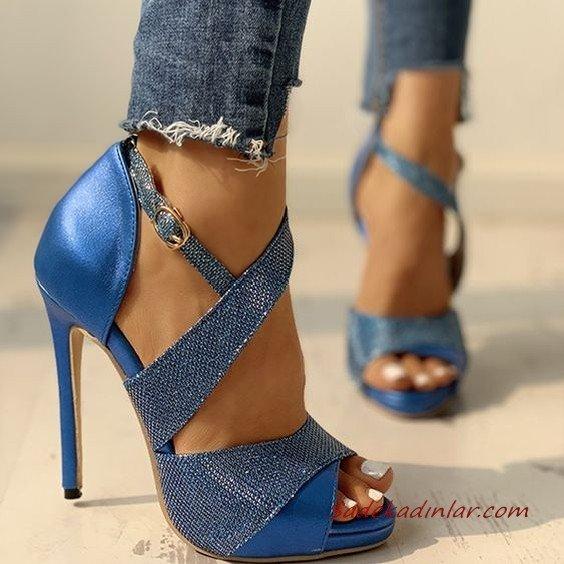 2020 Bayan Stiletto Ayakkabı Modelleri Mavi Önü Açık Çapraz Bantlı Tokalı