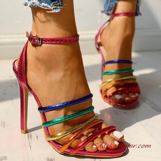 2020 Bayan Stiletto Ayakkabı Modelleri Pembe Renkli Bantlı Bilekten Tokalı