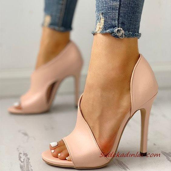 2020 Bayan Stiletto Ayakkabı Modelleri Pudra Önü Açık Bantlı