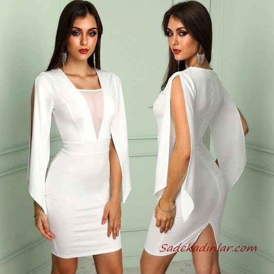 2020 Gece Elbiseleri Beyaz Mini Uzun Kollu Transparan Detaylı Yırtmaçlı