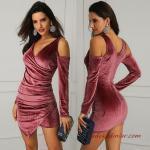 2020 Gece Elbiseleri Pembe Kadife Mini V Yakalı Uzun Kollu Dekolte Detaylı Asimetrik Etekli