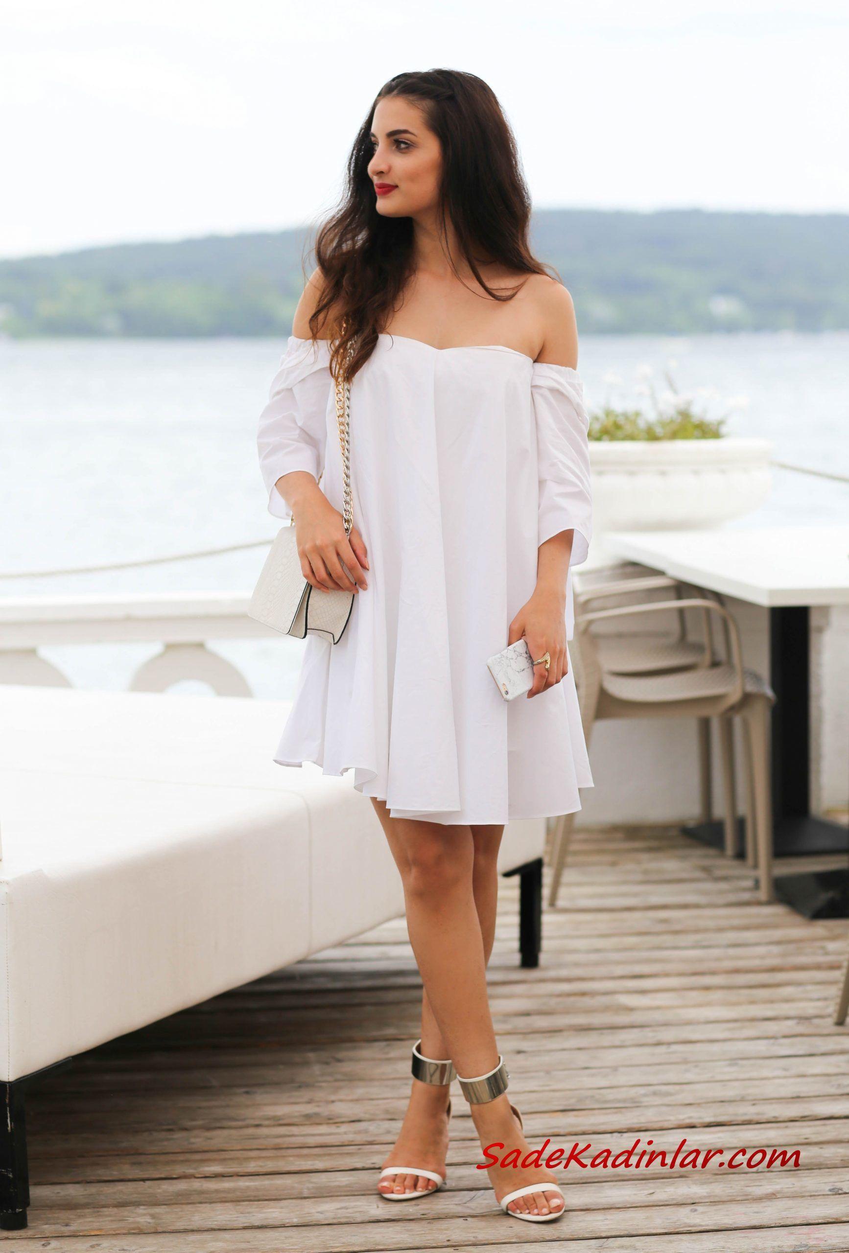 2021 Sevgililer Günü İçin Abiye Elbise Modelleri Beyaz Mini Straplez Düşük Yetim Kollu Salaş