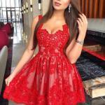 2020 Sevgililer Günü İçin Abiye Elbise Modelleri Kırmızı Mini Askılı Kloş Etekli Dantel