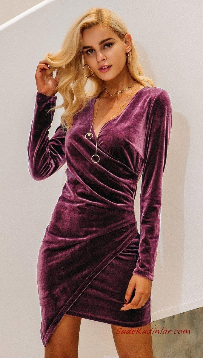 2021 Sevgililer Günü İçin Abiye Elbise Modelleri Mor Kadife Mini Uzun Kollu V Yakalı Asimetrik Etekli