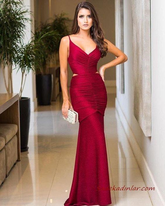 2020 Uzun Abiye Elbise Modelleri Kırmızı Uzun İp Askılı Sırt Dekolteli