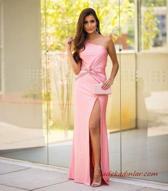 2020 Uzun Abiye Elbise Modelleri Pembe Uzun Tek Omzu Açık Yırtmaçlı