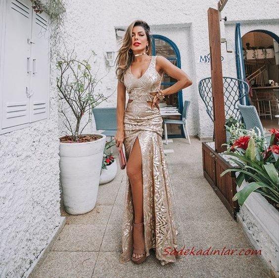 2020 Uzun Abiye Elbise Modelleri Vizon Uzun Askılı Yandan Dekoteli Yırtmaçlı