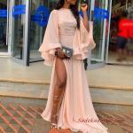 2020 Uzun Abiye Elbise Modelleri Yavruağzı Uzun Kapalı Yaka Volanlı Kol Yırtmaçlı
