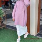2020 Bayan Tesettür Kombinleri Beyaz Uzun Etek Eflatun Boğazlı Salaş Tunik Kazak Beyaz Spor Ayakkabı
