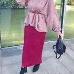 2020 Bayan Tesettür Kombinleri Fuşya Uzun Etek Pembe Salaş Kemerli Kazak Siyah Kısa Topuklu Bot