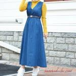 2020 Bayan Tesettür Kombinleri Mavi Uzun Kolsuz V Yakalı Kemerli Kt Elbise Yeşil Boğazlı Kazak Beyaz Spor Ayakkabı