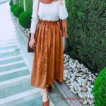 2020 Bayan Tesettür Kombinleri Taba Uzun Düğmeli Büzgülü Etek Beyaz Boğazlı Kazak Taba Babet Ayakkabı