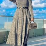 2020 Bayan Tesettür Kombinleri Yeşil Uzun Fırfırlı Desenli Kemerli Elbise Siyah Deri Kısa Topuklu Bot
