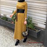 2020 Bayan Tesettür Kombinleri Yeşil Uzun Kemerli Triko Elbise Siyah Topuklu Ayakkabı