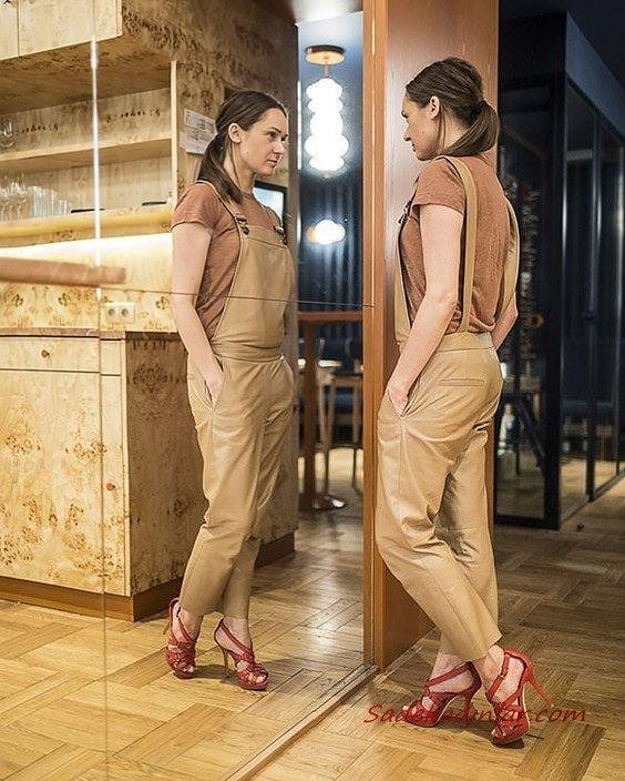 2020-2021 Deri Tulum Modelleri Kahverengi Askılı Cepli Deri Tulum Tarçın Stiletto Ayakkabı