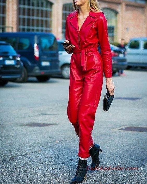2020-2021 Deri Tulum Modelleri Kırmızı Uzun Kollu V Yakalı Deri Tulum Siyah Kısa Topuklu Bot El Çantası