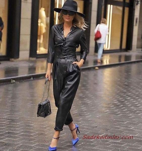 2020-2021 Deri Tulum Modelleri Siyah Uzun Kollu Düğmeli Cepli Deri Tulum Saks Mavi Stiletto Ayakkabı Siyah El Çantası