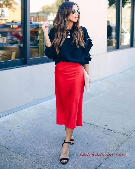 2020 Bayan Midi Etek Kombinleri Kırmızı Midi Etek Siyah Bluz Sandalet Ayakkabı Krem El Çantası