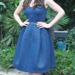 2020 En Trend Mavi Renk Elbise Kombinleri Mavi Midi Kolsu Kloş Etekli Elbise Sarı Babet Ayakkabı