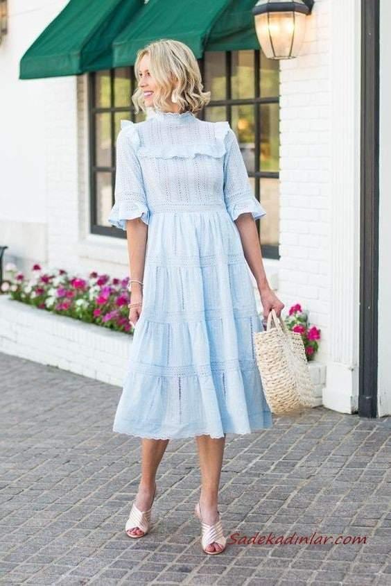 2020 En Trend Mavi Renk Elbise Kombinleri Mavi Mifi Yetim Kollu Kapalı Yakalı Elbise Krem Topuklu Ayakkabı