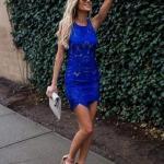 2020 En Trend Mavi Renk Elbise Kombinleri Mavi Mini Kolsuz Dantel Elbise Kahverengi Topuklu Ayakkabı
