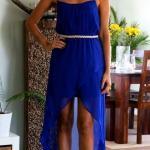 2020 En Trend Mavi Renk Elbise Kombinleri Mavi Mini İp Askılı Asimetrik Etekli Elbise Fuşya Topuklu Ayakkabı