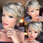 2020 En Şık Pixie Kısa Saç Kesim Modelleri Sarışın Balayage ve Yan Patlama ile Dalgalı Pixie